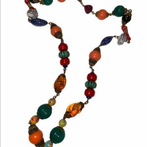 Vintage Costume Beaded multi Color Necklace